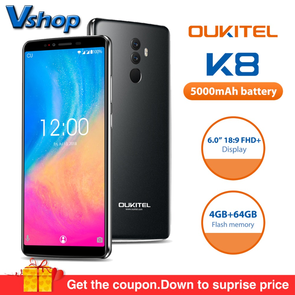Original OUKITEL K8 4G Mobile Phones Android 8.0 4GB+64GB MT6750T Octa Core Smartphone 5000mAh Face ID 6.0 inch FHD Cell Phone smartphone