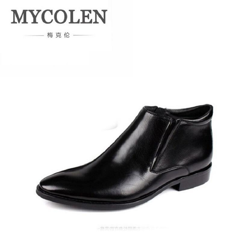 MYCOLEN Luxury Brand New Style Men Boots Casual Winter Leather Boots Black Men Martin Chelsea Boots Men Pointed Toe Autumn Shoes 2018 fr lancelot new design winter men ankle boots genuine leather men short boots luxury brand men black men high chelsea boots