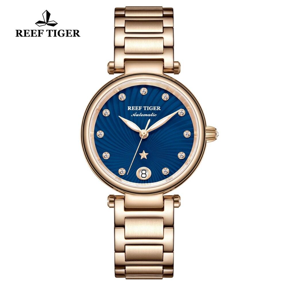 ريف النمر/RT العلامة التجارية الفاخرة النساء ساعة معصم الذهب الوردي الأزرق الهاتفي ساعات أوتوماتيكية الماس السيدات ساعات يد RGA1590-في ساعات نسائية من الساعات على