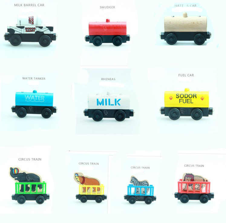 EDWONE Locomotive Wooden Railway Magnetic Train Wood Tender Chrismas Car Accessories Toy For Kids Fit Thomas Biro Tracks Gifts