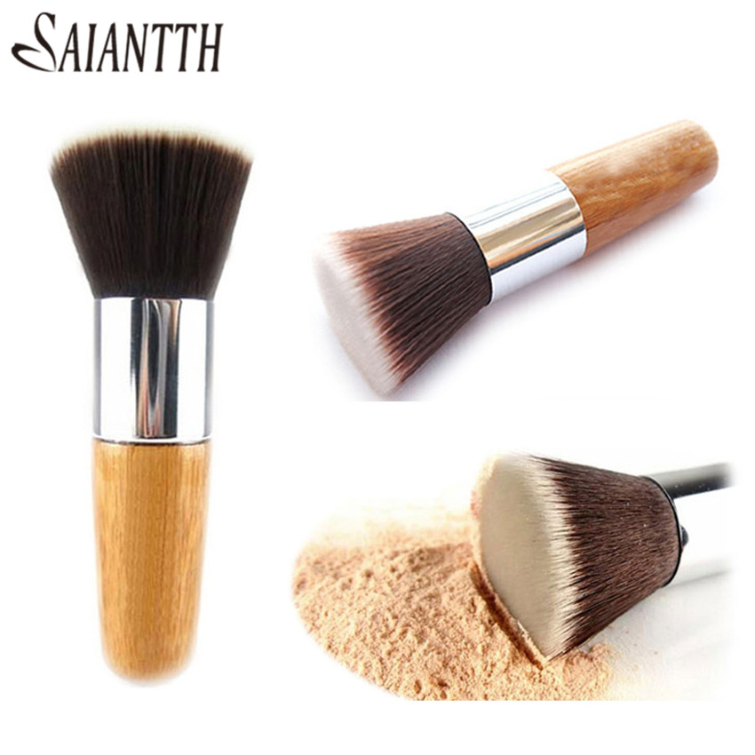SAIANTTH Bamboo handle flat dense makeup brushes single foundation brush professional beauty tools pincel maquiagem
