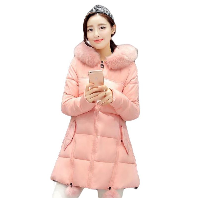 New Coats & Jackets 2017 Hooded Winter Jacket Women Fur Collar Winter Coat Women Zipper Women's Parkas Winterjas Dames 572