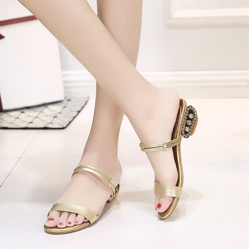 2018 Большие размеры 34–41 Летняя женская обувь Серебристые Для женщин тапочки золотые сандалии вьетнамки Шлепанцы