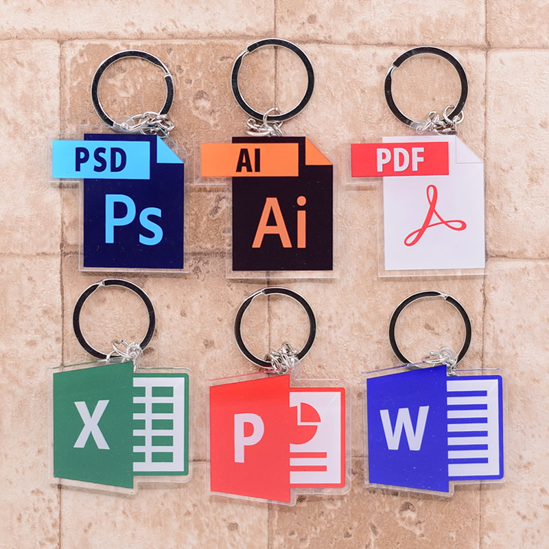2019 Software Icon Keychain Double Sided Key Chain Acrylic Pendant Anime Accessories Cartoon Key Ring