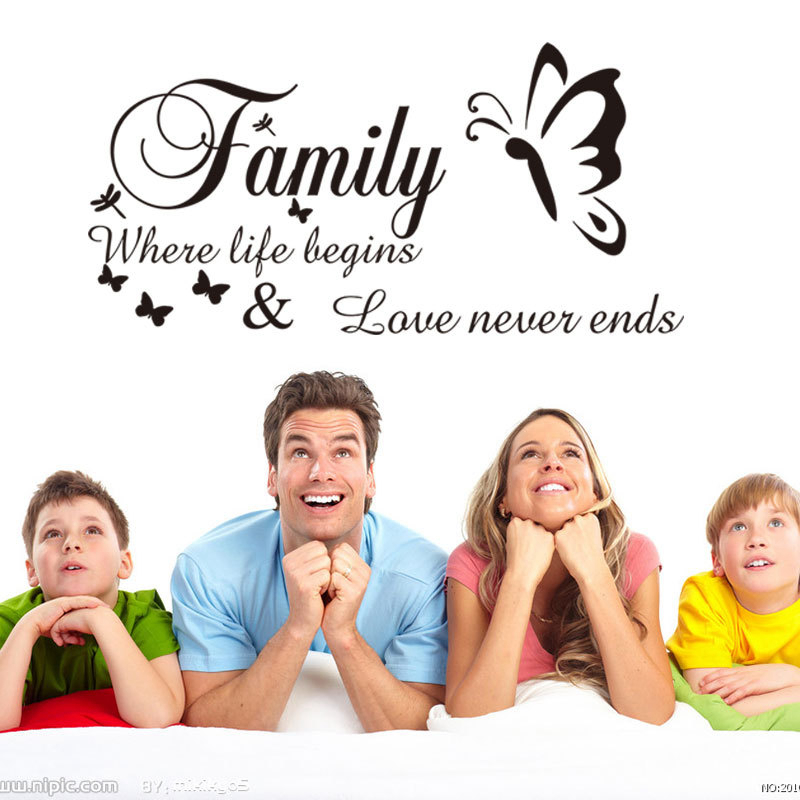 Family Where Life Begins Love Never Ends Butterfly Wall Art Decor Home Decoration High Quality Vinyl Wall Sticker Art Decal in Wall Stickers from Home Garden