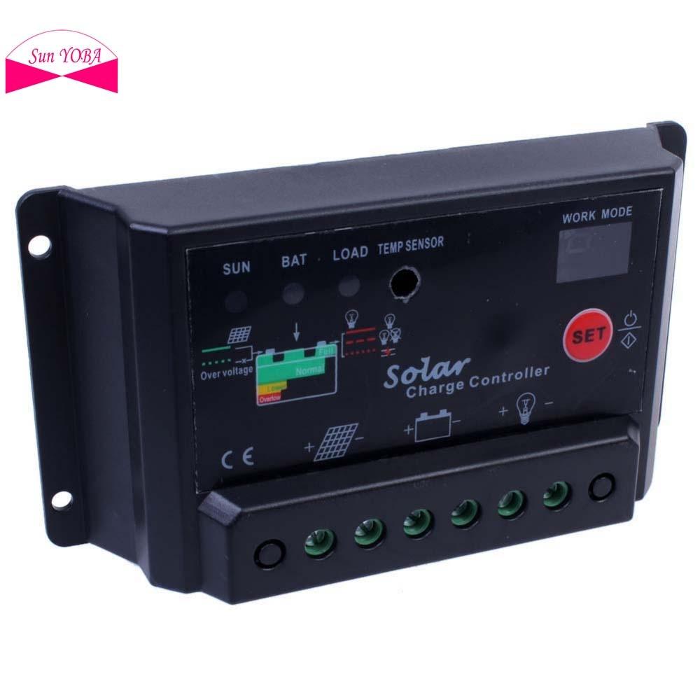 Sun Yoba Black 10a Amp 12v 24v Solar Charge Controller For