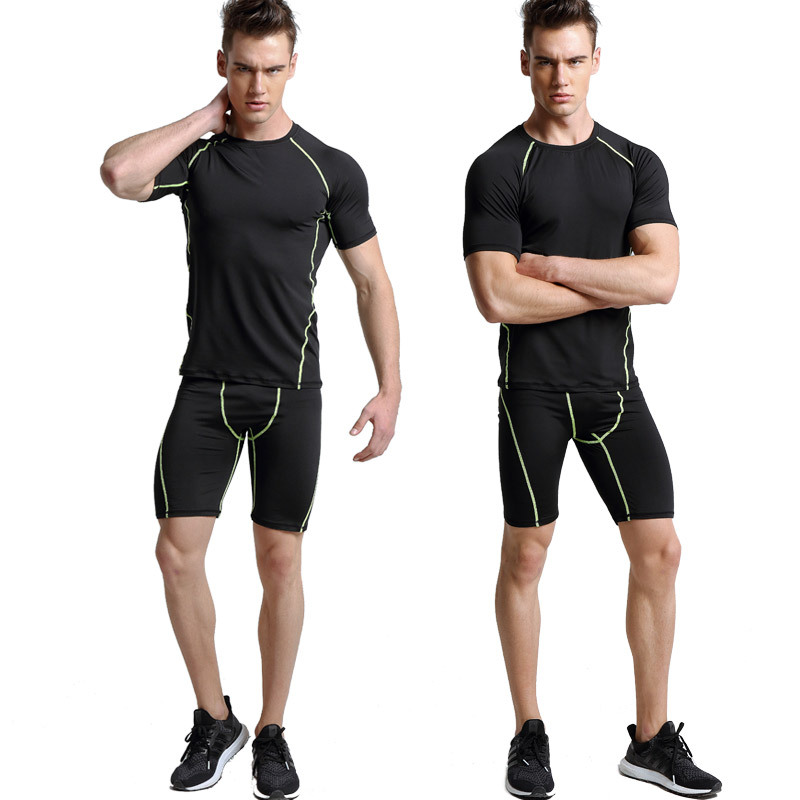 New PROSKINS Men's Running Pants+short Sleeve Sport Athletic Mens Suits Top Cycling / Tracksuits / Workout Clothes Set / JingFu