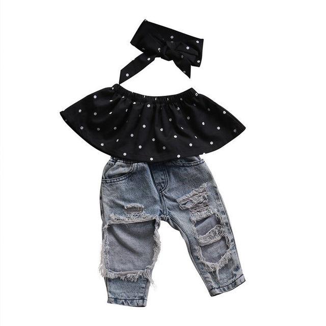 55fb22c778eab Mode Enfant Bébé Filles Noir Blouse Top Trou Casual Denim pantalon Tenues  Ensemble Infantile Fille Doux