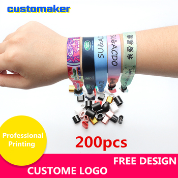 200pcs Custom Satin Ribbon printed Christmas wristband personalized bracelet custom event bracelets breast cancer wristbands