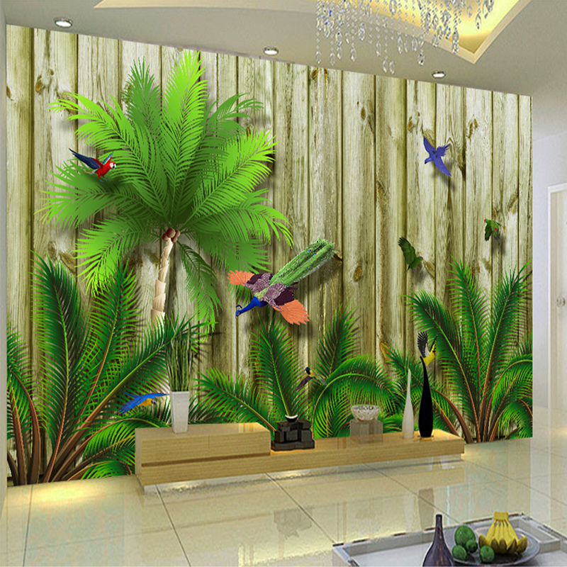 Custom Large Wall Painting Tropical Bird Forest Southeast Asia 3D Wood Board Wood Grain Wall Mural Wallpaper Living Room Sofa free shipping deconstruction blue bird bird personalized painting large murals mak wallpaper custom size