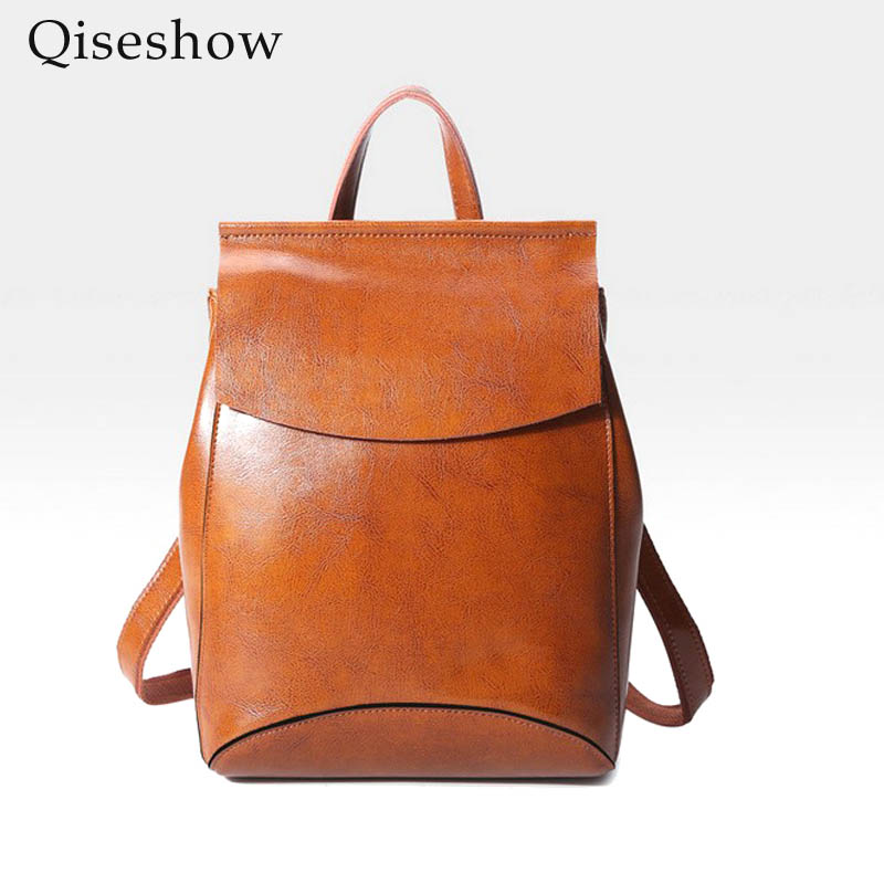 Qiseshow 2017 New Genuine Leather backpack women bag oil wax cow leather vintage backpacks Female back