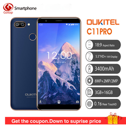 Oukitel C11 Pro 5.5 Inch 18:9 Android 8.1 Mobile Phone MTK6739 Quad Core Cell Phone 3G RAM 16G ROM 8MP+2MP 3400mAh 4G Smartphone