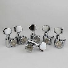 GUYKER cabezales de máquina 6R/6L, sin tornillos, clavijas de afinación, sintonizador de cromo