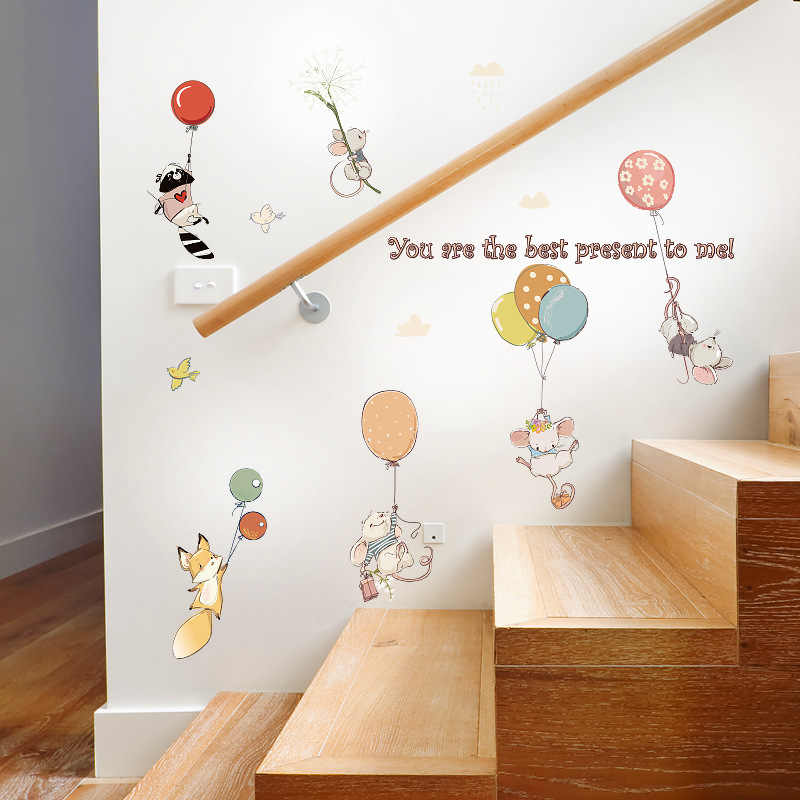 Cartoon diy colorful Balloon cute mouse wall sticker for Kids rooms decoration bedroom nursery classroom removable wallpaper