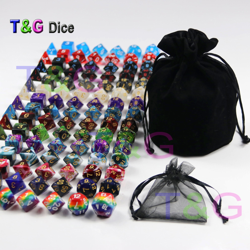 105 Polyhedral Dice plus Pouch,T&G Rainbow Dice 15 complete sets of D4 D6 D8 D10 D10% D12 D20 for RPG DND Board Game игра мозаика с аппликацией медовая сказка d10 d15 d20 105 5 цв 6 аппл 2 поля