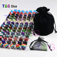 105 Polyhedral Dice plus Pouch,T&G Rainbow Dice 15 complete sets of D4 D6 D8 D10 D10% D12 D20 for RPG DND Board Game