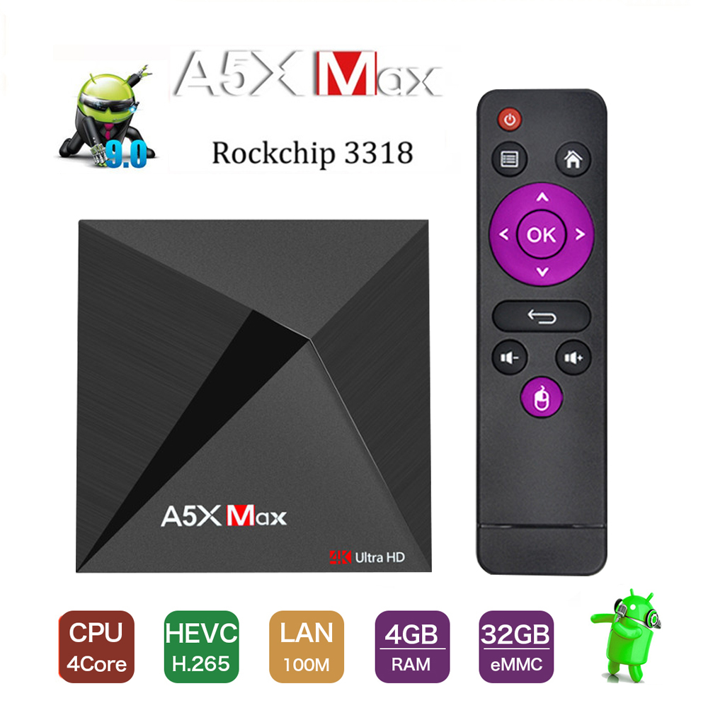 Smart Android 9.0 TV Box A5X MAX 4G+32G RK3318 Quad-Core Support 4K HDR 3.0 USB 2.4G Wifi Bluetooth 4.1 Set Top Box Media Player