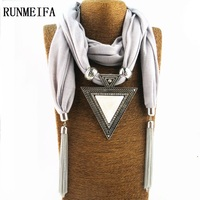 2016 Woman Triangle Charms Scarf Foulard Women Pashmina Echarpe Drop Pendant Scarves Christmas Gift Jewelry Scarves