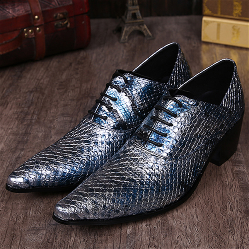 Fashion Men Oxfords Genuine Leather Dress Shoes Pointed Toe Lace Up Wedding Shoes Snakeskin Creepers Chaussure Homme men fashion oxfords pointed toe retro