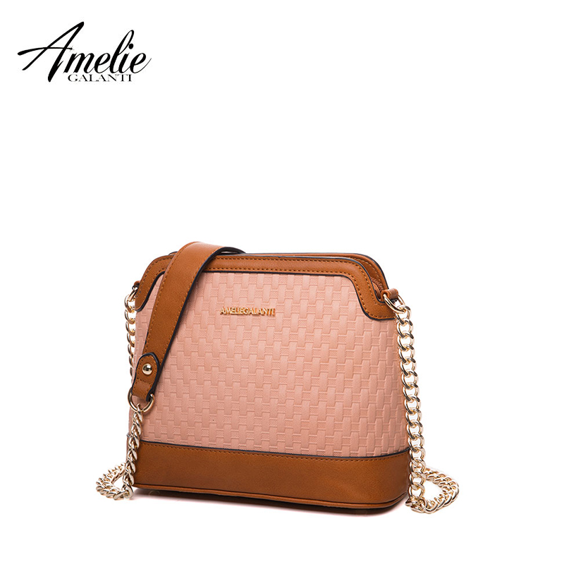 AMELIE GALANTI new women messenger bags fashion shoulder bag patchwork solid shell diamond Lattice hard zipper lady office 2017 free shipping new fashion brand women s single shoulder bag lady messenger bag litchi pattern solid color 100