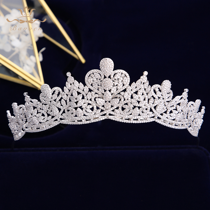 New European Women Full Zircon Bridal Tiaras Crowns Plated Crystal Wedding Hairbands For Brides Evening Hair Jewelry