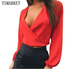 Wine Red Black White Autumn Night Club Sexy V Neck Bow Halter Top Tees Women T-Shirt Long Sleeve Loose Fashion Crop H7021