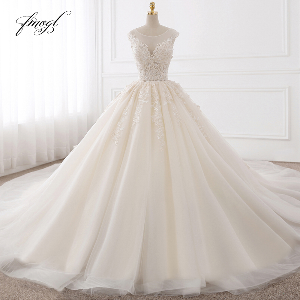 Fmogl Vestido De Noiva Sexy Backless A Line Wedding Dresses 2020 Appliques Lace Royal Train Tulle Bride Gowns Plus Size