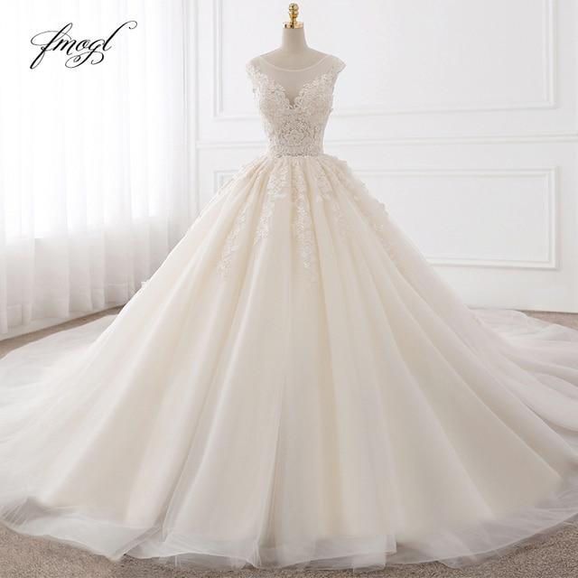 Fmogl Vestido De Noiva Sexy Backless A Line Wedding Dresses 2020 Appliques Lace Royal Train Tulle Bride Gowns Plus Size