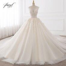 Fmogl vestido de noiva sexy sem costas uma linha vestidos de casamento 2020 apliques rendas trem real tule vestidos de noiva plus size