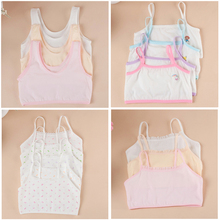 Hot Selling girl underwear sling young developmental girls cotton bra for big girls summer floral children causal bra