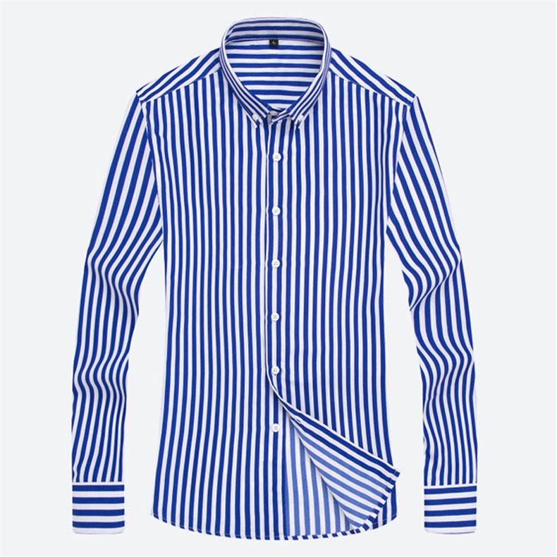 5XL Plus Large Size Striped Shirts Men Long Sleeve Casual Autumn Spring Classic Male Shirts Non-Iron Dress Shirts Man Muls Brand 13