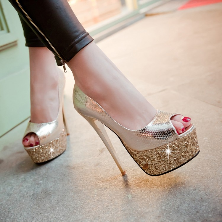 ФОТО 2015 new women pumps thin sexy bottom waterproof shoes super high-heeled sandals Club Princess fish mouth T station serves pumps