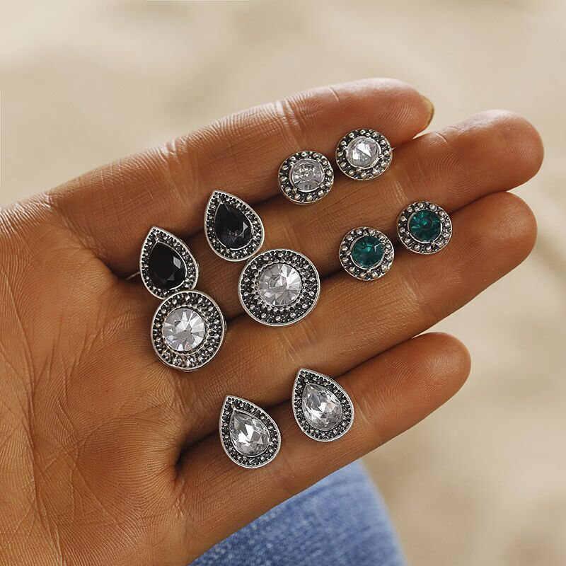 Gorąca sprzedaż moda 5 para/zestaw niebieski owalny kryształ perła kolczyk na wtyk kolczyk Charms do naśladować kobiety biżuteria Party