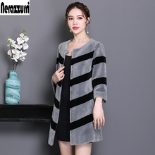 Real-Fur-Coats Jacket Nerazzurri Winter Women Lamb Fur Black Striped Plus-Size for Gray