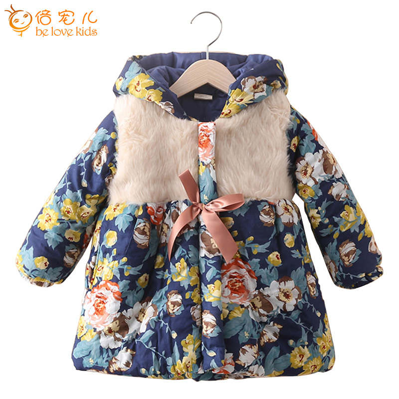 Style Winter Children Jacket Floral Print Girls Parkas Coat Thick Warm Hooded Kids Outwear PT1023