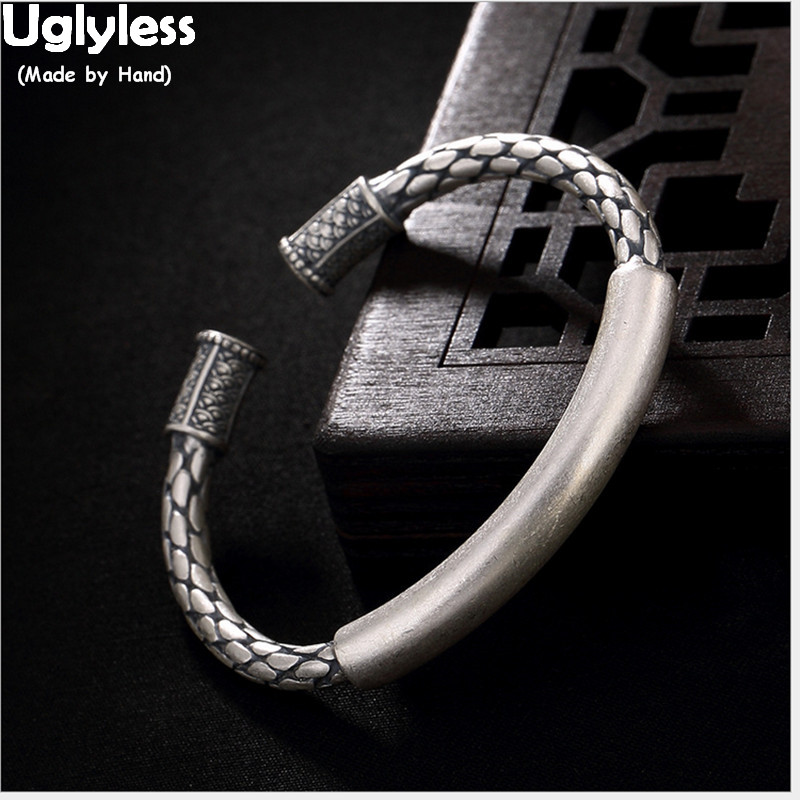 Uglyless Real 990 Silver Bangles Cool Neutral Fish Scales Engraving Bangle Women Vintage Thick Weave Jewelry Ethnic Twist BijouxUglyless Real 990 Silver Bangles Cool Neutral Fish Scales Engraving Bangle Women Vintage Thick Weave Jewelry Ethnic Twist Bijoux