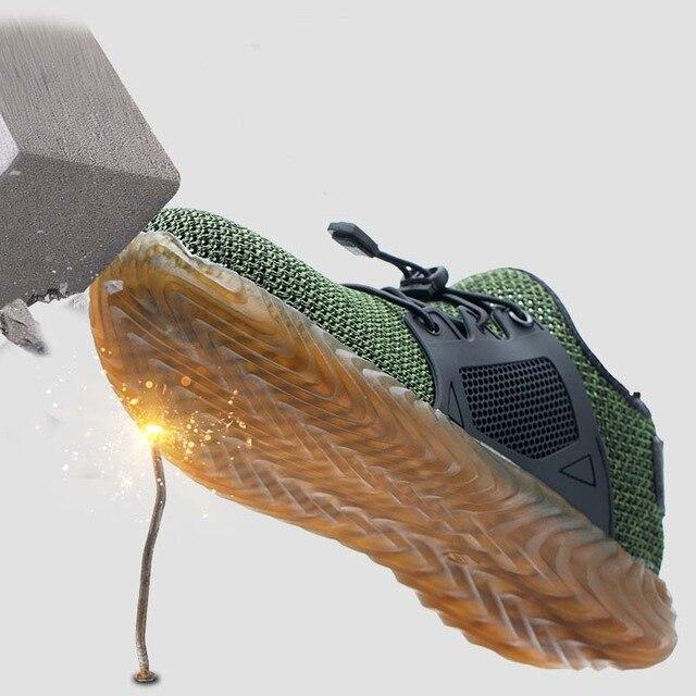 Новая выставка 2019 легкая Мода дышащая защитная обувь мужчины стальной носок анти-разбив тапки рабочие защитные сапоги 35-46 1