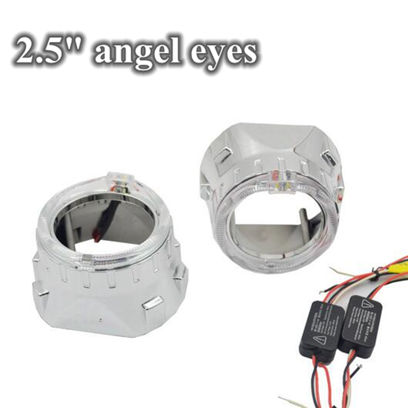 2pcs 2.5inch  led day running angel eyes cob white car Bi xenon hid xenon kit  hid projector lens headlight