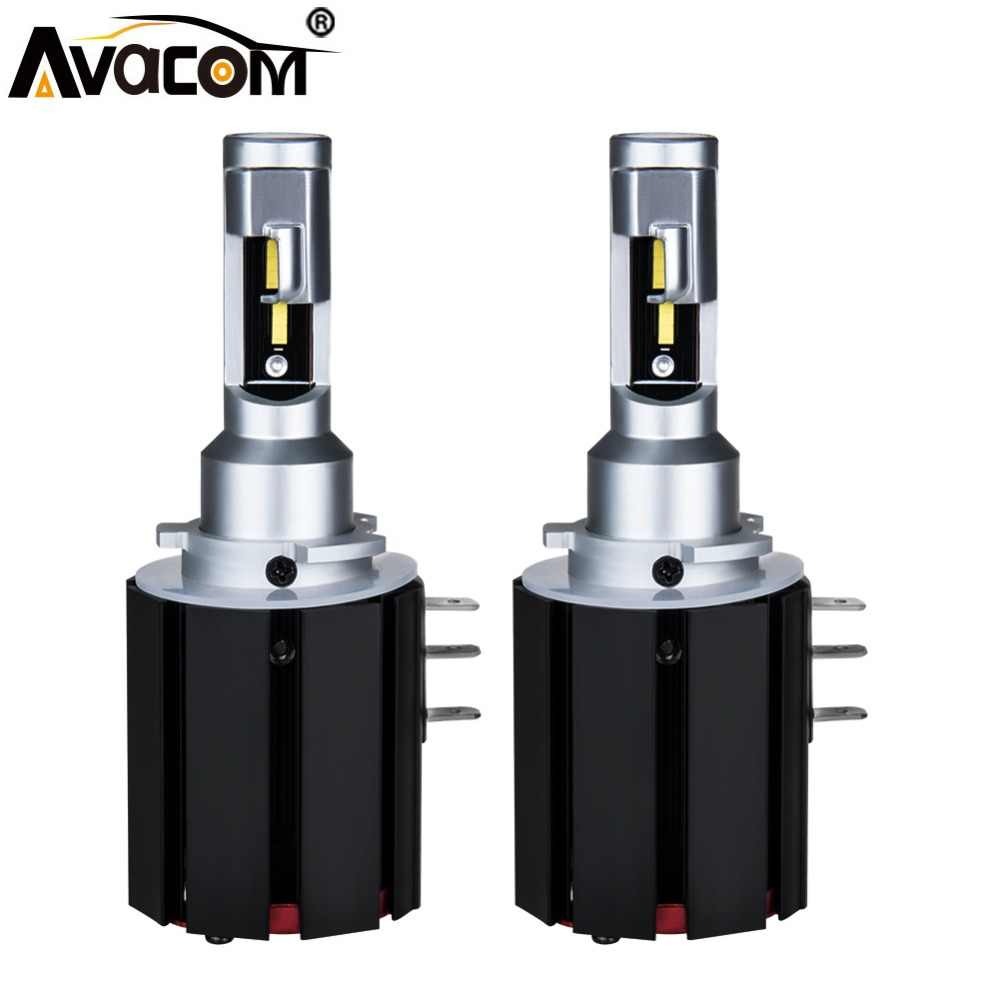 Avacom 2 Pcs H15 LED Bulb No Error Car Headlights 12V 1860 Chip 48W 6500K 5600Lm High Beam Super Bright LED H15 Auto Lamp