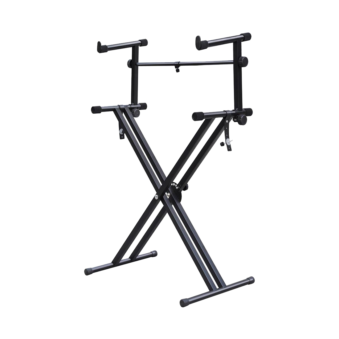 Music-S Quality Heavy-Duty X Style Dual Keyboard Stand Electronic Piano Double 2-tier Adjustable цена