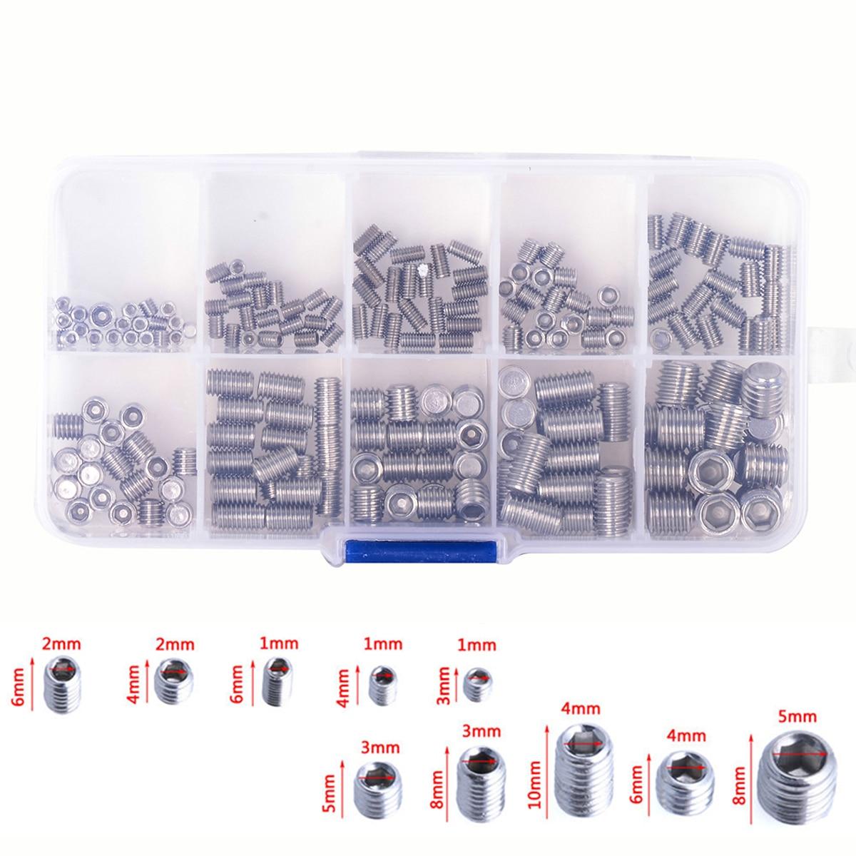 200pcs Stainless Steel Hex Socket Screw Set Mayitr Grub Screws Assortment Kit M3/M4/M5/M6M8 with Box 200pcs 304ss m3 m4 m5 m6 cone point allen head hex socket screws assortment kit