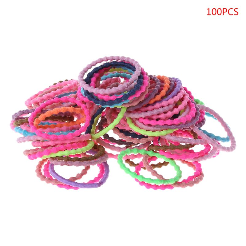 100 Pcs/pack Children Kids Head Rope Girls Baby Hair-ring Hair Colorful Rubber Band Color Headdress New