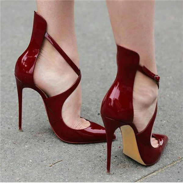 Plus Size 34-46 High Heels Shoes Woman Pointed Toe Sexy Women's Pumps Fashion Patent Leather Shoes Buckle Summer Sandals  C511 plus size 2017 new summer suede women shoes pointed toe high heels sandals woman work shoes fashion flowers womens heels pumps