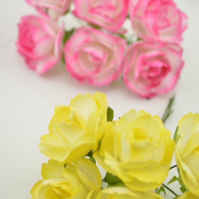 6pcs Cheap Paper Rose Artificial Flowers scrapbooking For wedding car decoration handicraft DIY Gift box wreath material fake