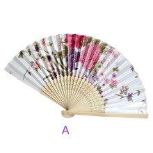Винтажный бамбуковый складной ручной вентилятор с цветами для китайского танцевального вечеринки, карманные подарки, вечерние веер для свадьбы, летний Веер 2