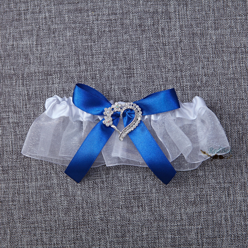 Blue Satin Lace Wedding Decoration Garter Rhinestone Heart