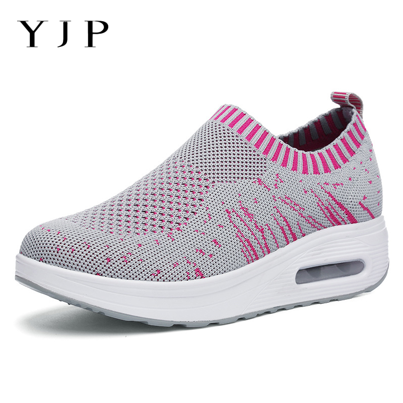 f1806b3292 Aliexpress.com : Buy YJP Mesh Breathable Rocker Sneakers Women Shoes Light  Casual Sports Walking Shoes Summer Spring Slip on Platform Sneakers Zapato  ...