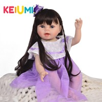 KEIUMI Real Looking22'' Reborn Soft Silicone Vinyl Reborn Baby Doll Girl 55 cm Reborn Doll baby For Children Christmas Gifts