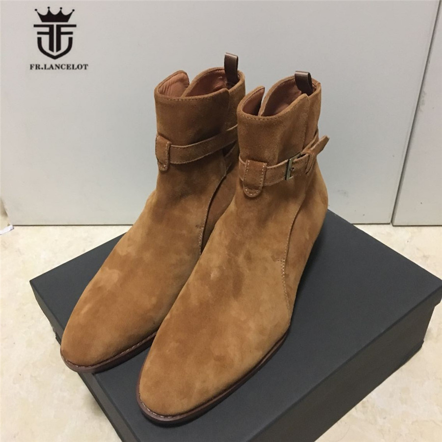 Real Picture Handmade Brown Suede Genuine Leather MID High Ankle Strap Wedge Men Boots Street Slim Handsome Luxury Boots real picture luxury handmade classical wyatt homme harness high top chelsea men boots wedge real cow leather suede boots