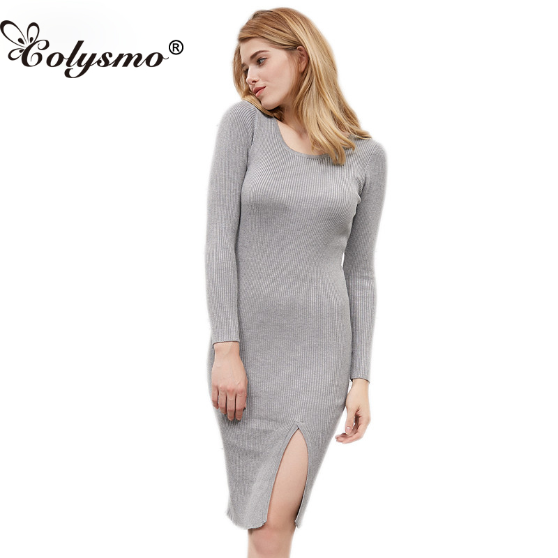 Colysmo Long Sleeve O-Neck Women Sweater Midi Dress Cable Knitted Slit Sheath Dress Winter Autumn Jumper Knitwear Long Pullover long sleeve slit knit midi dress with sleeves